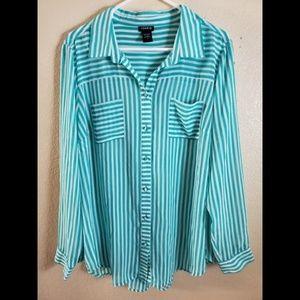Torrid Blue Striped Button Down Shirt Tunic 1X